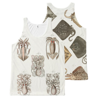 Octopus Squid Stingray Vintage Sea Life Art All-Over Print Tank Top