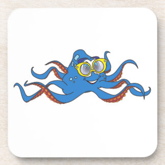 Octopus Sunglasses Cartoon Drink Coaster