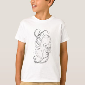 Octopus T Shirt Ink Drawing Black and White
