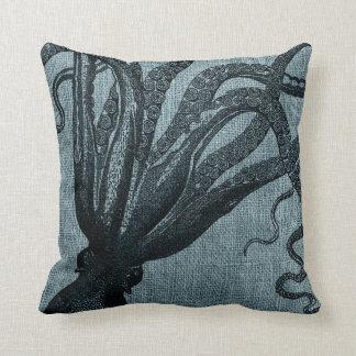Octopus Tentacles Black Blue Grey Cushion
