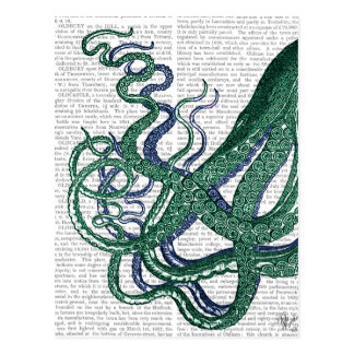 Octopus Tentacles Green and Blue Postcard