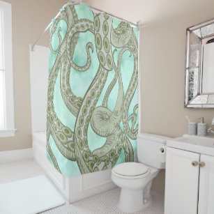 Octopus Tentacles On Green Watercolor Shower Curtain