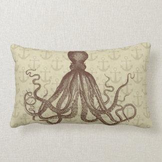 Octopus Vintage Brown Anchors Beach Nautical Lumbar Cushion