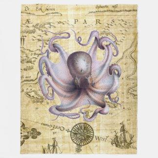 Octopus Vintage Map Purple Fleece Blanket