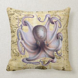 Octopus Vintage Map Purple Throw Pillow