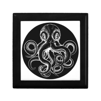 Octopus vintage woodcut engraved etched style gift box