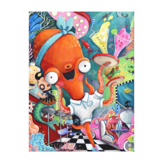 Octopus Waitress in Underwater Road Bar Canvas Print