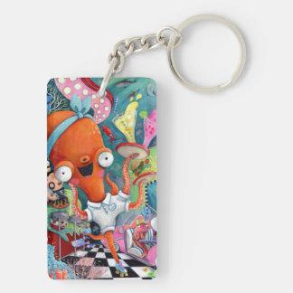 Octopus Waitress in Underwater Road Bar Key Ring