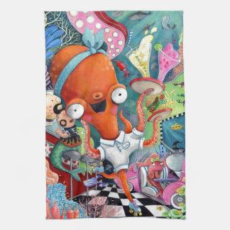 Octopus Waitress in Underwater Road Bar Tea Towel