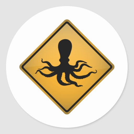 Octopus Warning Sign Round Stickers