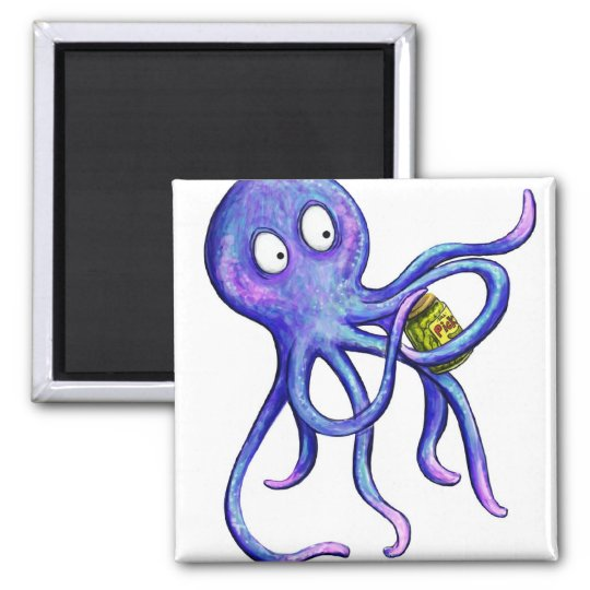 Octopus with a pickle jar magnet