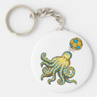 Octopus with a soccer ball key ring