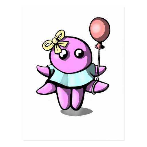 Octopus with baloon post cards