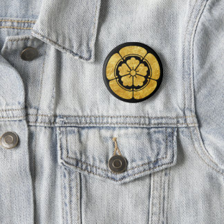 Oda Mon Japanese samurai clan faux gold on black 6 Cm Round Badge