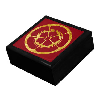 Oda Mon Japanese samurai clan faux gold on red Gift Box