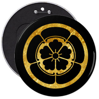 Oda Mon Japanese samurai clan gold on black 6 Cm Round Badge