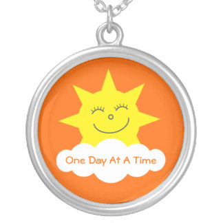 ODAAT Happy Cartoon Sun Customizable Orange Silver Plated Necklace