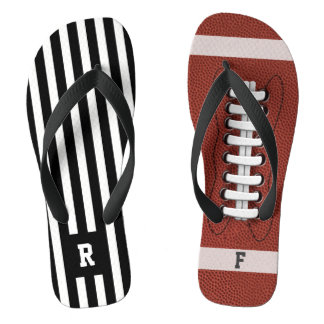 Odd American Football Referee Stripe Flip Flops