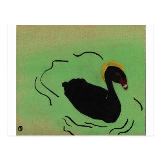 Odd Black Swan Painting Postcard
