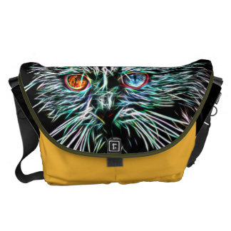 Odd-Eyed Glowing Cat Courier Bags