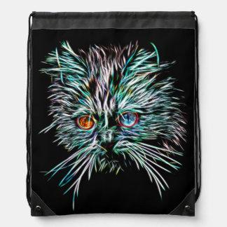 Odd-Eyed Glowing Cat Drawstring Bag