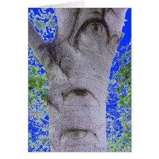 Odd Eyed Tree Trunk Blue Greeting Card