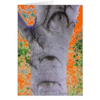 Odd Eyed Tree Trunk Orange Greeting Card