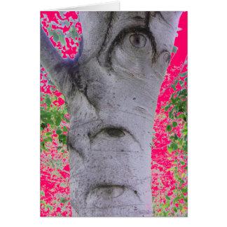 Odd Eyed Tree Trunk Pink Greeting Card