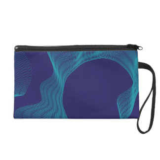 Odd Wavy Bends blue purple Wristlet