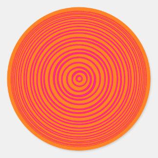 Oddisphere Pink Orange Optical Illusion Classic Round Sticker