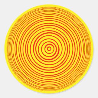 Oddisphere Red Yellow Optical illusion Classic Round Sticker