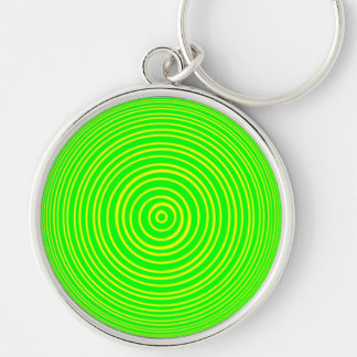 Oddisphere Yellow Green Optical Illusion Silver-Colored Round Key Ring