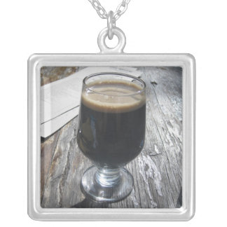 Ode to chocolate stouts silver plated necklace