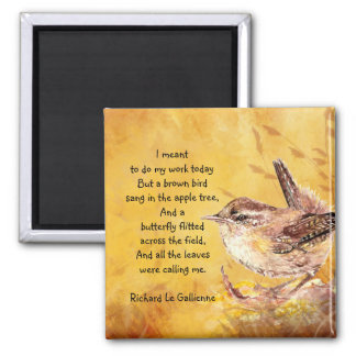 """Ode to Spring"" Watercolor Brown Bird Nature Poem Square Magnet"