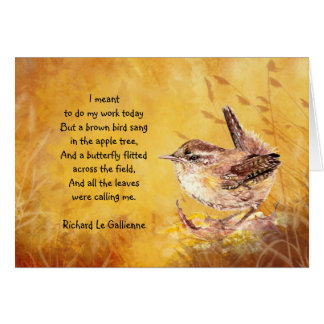 """Ode to Spring"" Watercolor Brown Bird Poem Greeting Card"