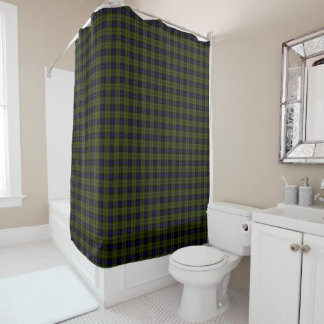 Odee army green royal blue/black stripe plaid shower curtain
