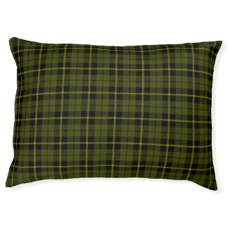 Odee green, gold/yellow/black stripe Plaid Pet Bed