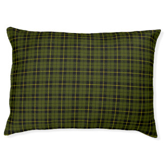 Odee green, gold/yellow/black stripe small Plaid Pet Bed