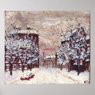 Odessa City in winter art poster