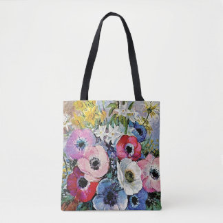 Odilon Redon Anemones Flowers - Fine Art Symbolism Tote Bag