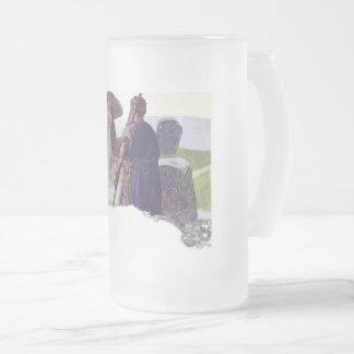 Odin in front of a Völva Frosted Glass Beer Mug