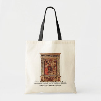 Odoni Altar Overview Middle PanelBy Crivelli Carlo Canvas Bags