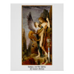 Oedipus And The Sphinx By Gustave Moreau Print