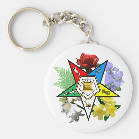 OES Floral Emblem Keychain