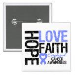 Oesophageal Cancer Hope Love Faith 15 Cm Square Badge