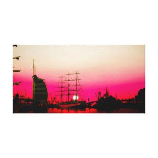 Of Bremen port - sunset Canvas Print