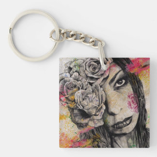 OF SUFFERING - dark gothic portrait, roses lady Key Ring