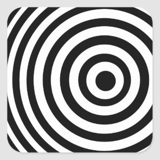 Off Center Black and White Target Square Sticker