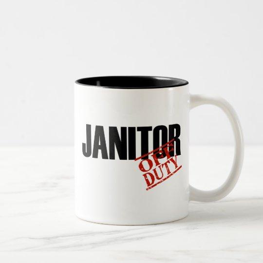 OFF DUTY JANITOR Two-Tone COFFEE MUG
