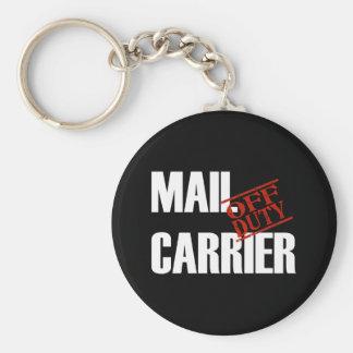 OFF DUTY MAIL CARRIER DARK BASIC ROUND BUTTON KEY RING